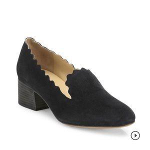 Chloe Lauren scalloped black suede loafer